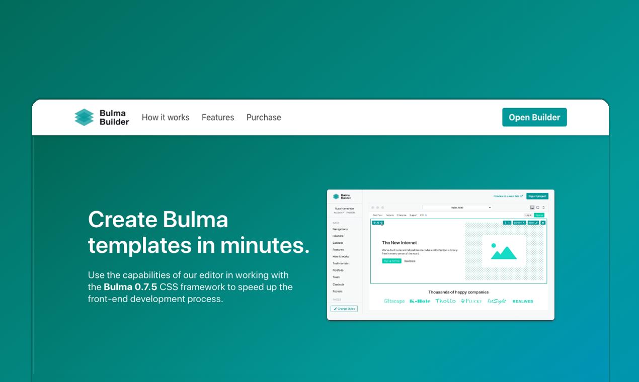 Bulma Builder Create Bulma Templates In Minutes